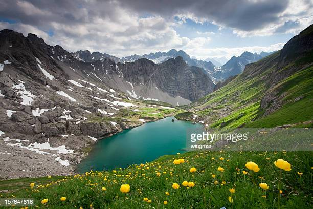 alpin lake gufelsee in tirol - austria - lech stock photos and pictures