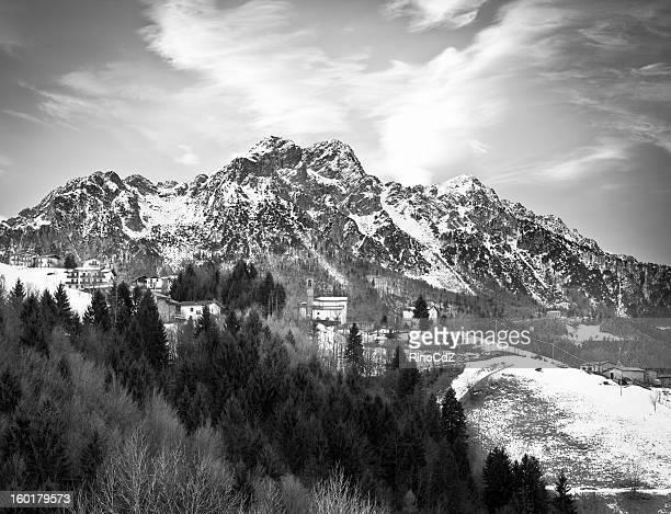 Alpin Village In Winter, Black And White
