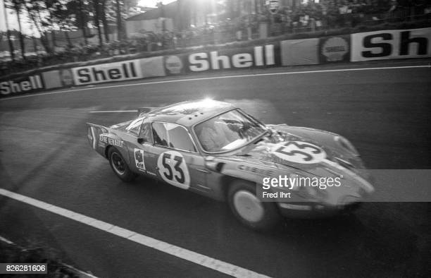 Alpine A210 Renault on the race track racing Le Mans 1968 Christian Ethuin Bob Wollek #53 Le Mans 1968 24 Hour Endurance Race Race car driver...