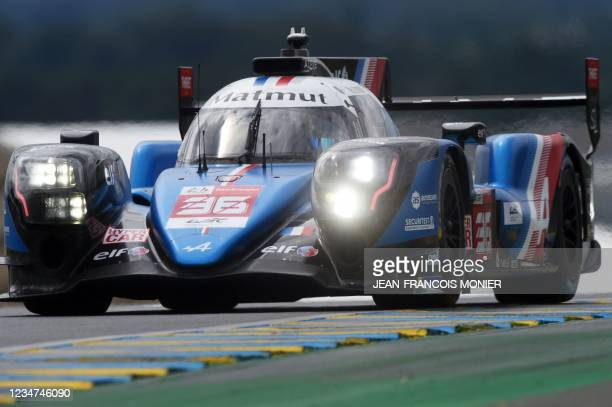 Alpine A480 Gibson Hypercar WEC's Brazilian driver Andre Negaro takes part in the first practice session in Le Mans, northwestern France, on August...