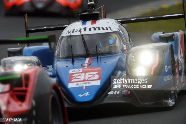 Alpine A480 Gibson Hypercar WEC's French driver Nicolas Lapierre takes part in the first practice session in Le Mans, northwestern France, on August...