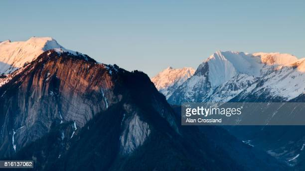 alpine dawn - rhone alpes stock photos and pictures