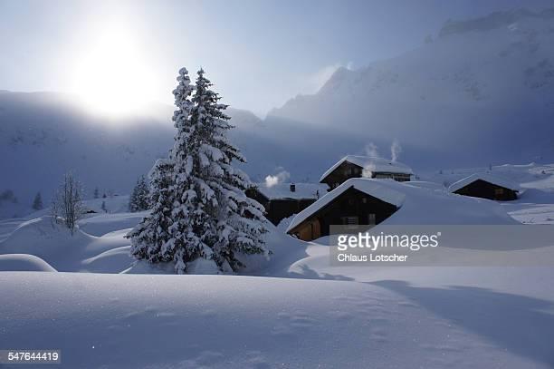 Alpine houses in deep snow, Berense alps