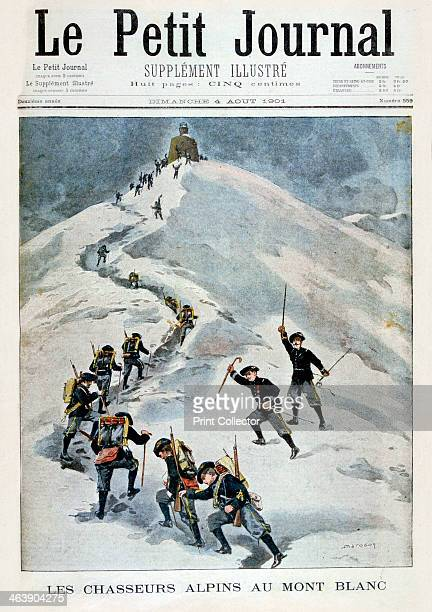 Alpine hunters on Mont Blanc 1901 Illustration published in Le Petit Journal 4th August 1901