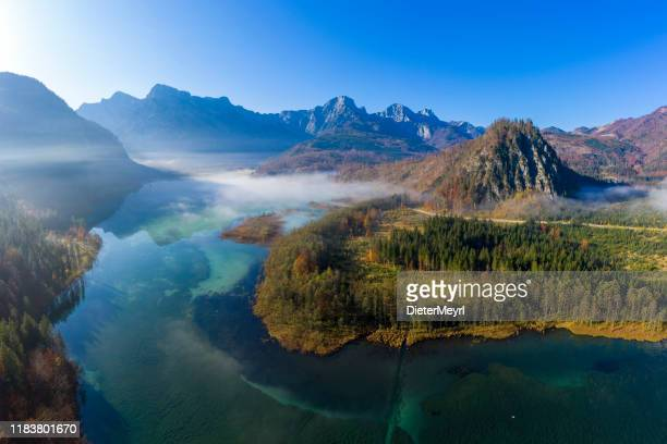 alpine lake almsee, grünau in the almtal, austria - freshwater stock pictures, royalty-free photos & images
