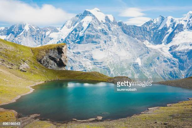 Alpine lake and mountains, Schilthorn, Bern, Switzerland