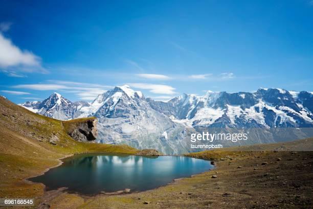 Alpine lake and mountains, Schilthorn, Bern, Switzerland