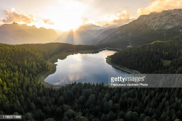 alpine lake at sunset, valmalenco, sondrio, italy. - territorio selvaggio foto e immagini stock