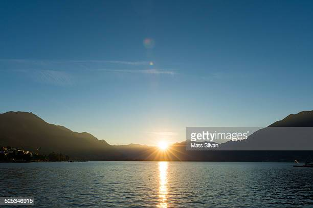 Alpine lake in sunrise