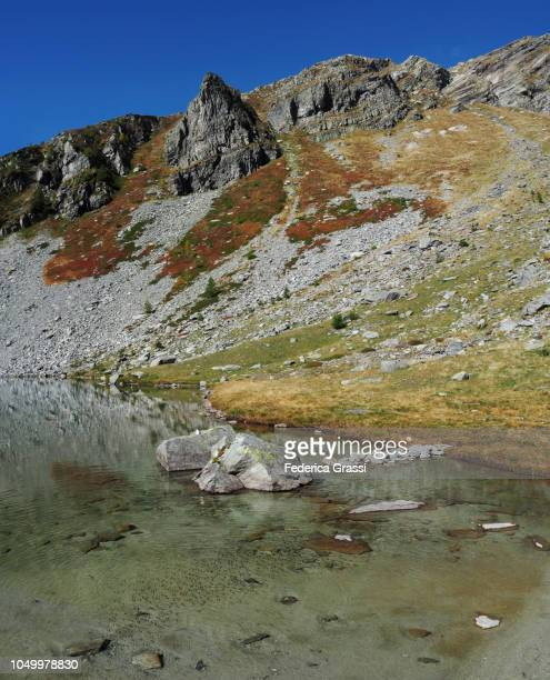 Alpine Lake Lago di Agro and Mount Camoscellahorn in The High Bognanco Valley