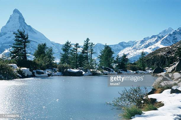 alpine lake mit matterhorn - cambridge massachusetts stock pictures, royalty-free photos & images