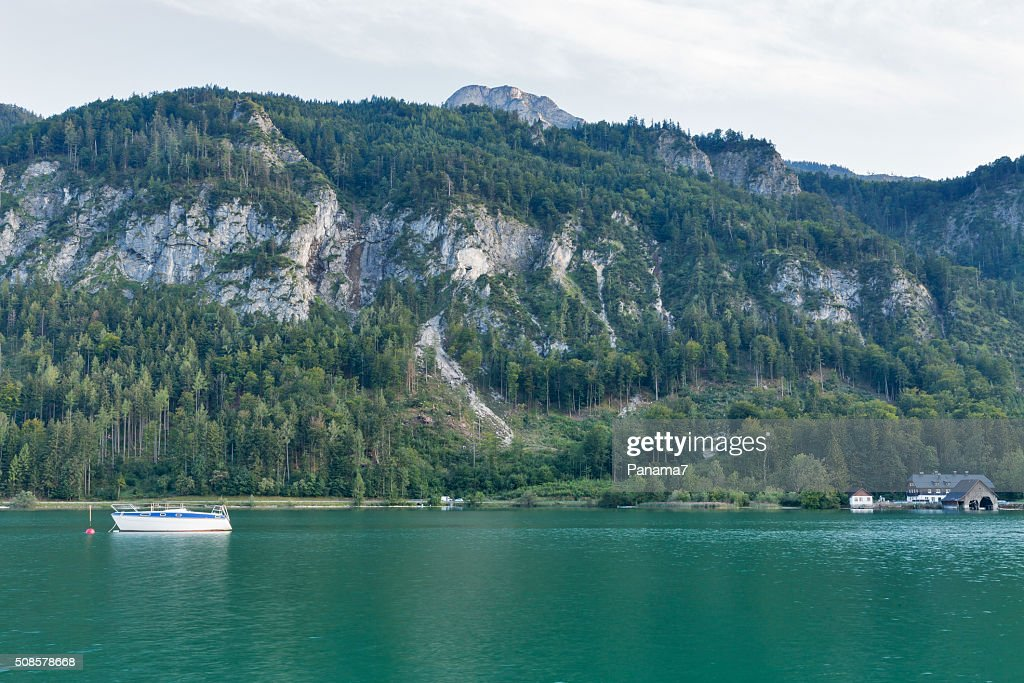 Alpine lake Mondsee autumn landscape, Austria : Stock Photo