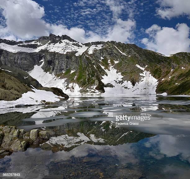 Alpine Lake nestled in the Swiss Alps