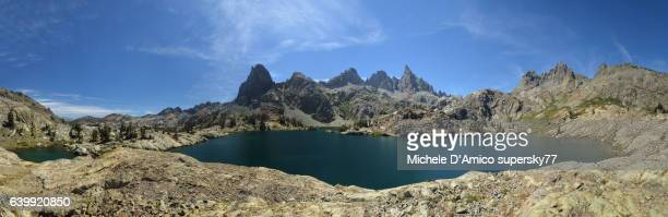 Alpine lake surrounded by jagged peaks