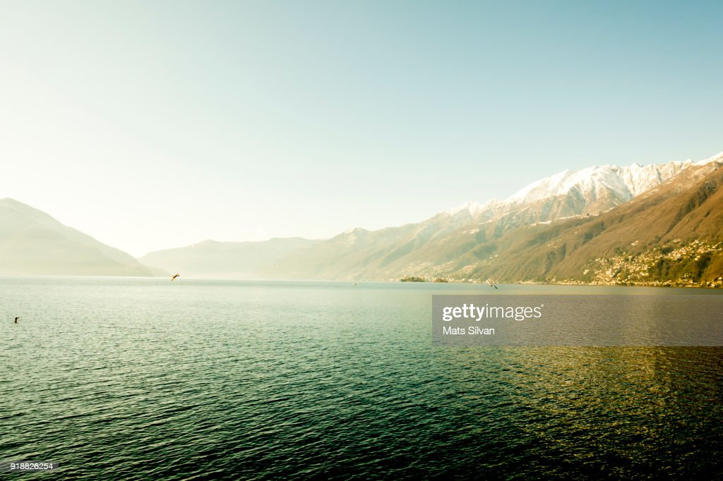 Alpine Lake with Snow-capped Mountain in a Sunny Day : Stock Photo