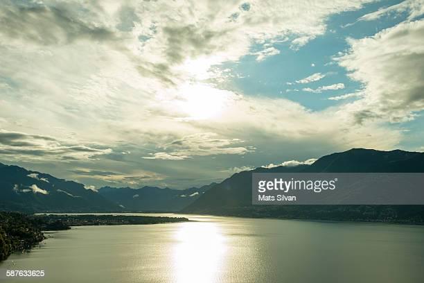 Alpine lake with sunlight