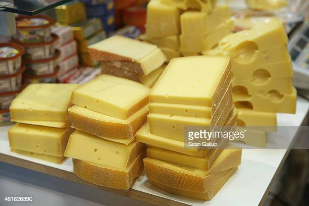 Alpine mountain cheese awaits visitors at a stand at the International Green Week agricultural trade fair on January 16 2015 in Berlin Germany The...
