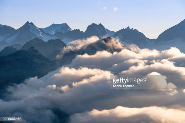 Alpine Mountain Silhouette, Switzerland, Europe