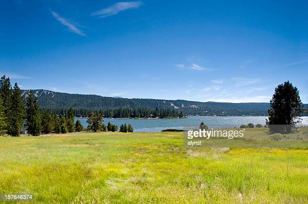 alpine mountian lake and meadow - big bear lake stock pictures, royalty-free photos & images