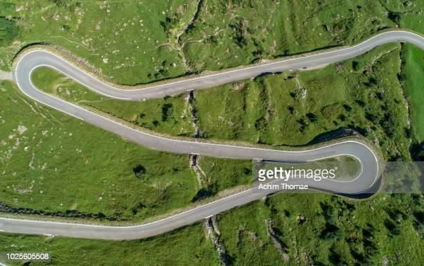 alpine pass road, switzerland, europe - s shape stock photos and pictures