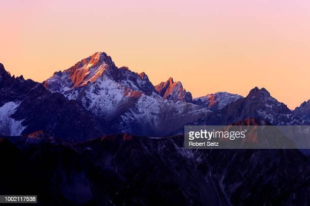 Alpine peaks at sunrise, Namlos, Lechtal, Reutte, Tyrol, Austria
