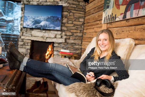 Alpine race skier Tessa Worley is photographed for Paris Match on December 13 2017 in Vald'Isere France