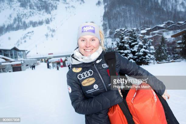 Alpine race skier Tessa Worley is photographed for Paris Match on December 14 2017 in Vald'Isere France
