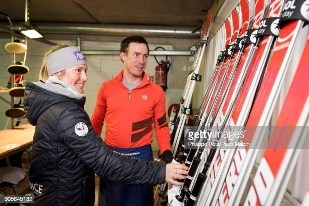 Alpine race skier Tessa Worley is photographed with Dylan Stary for Paris Match on December 14 2017 in Vald'Isere France