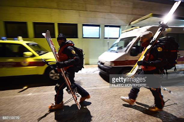 Alpine rescuers prepare to join a rescue operation near the village of Penne, after an avalanche engulfed a mountain hotel in earthquake-ravaged...
