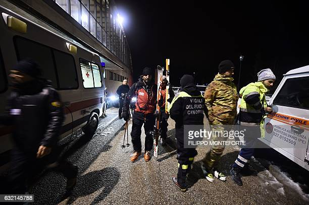 Alpine rescuers prepare to join a rescue operation near the village of Penne, after an avalanche engulfed the mountain hotel Rigopiano in Farindola...