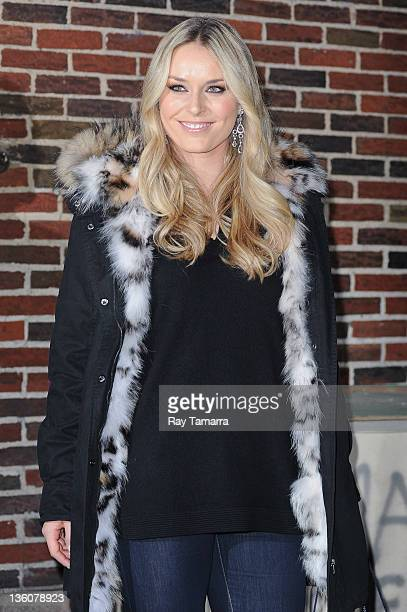 Alpine ski racer Lindsey Vonn leaves the 'Late Show With David Letterman' taping at the Ed Sullivan Theater on December 22 2011 in New York City