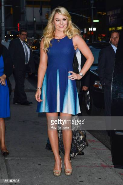 Alpine ski racer Lindsey Vonn leaves the 'Late Show With David Letterman' taping at the Ed Sullivan Theater on October 28 2013 in New York City