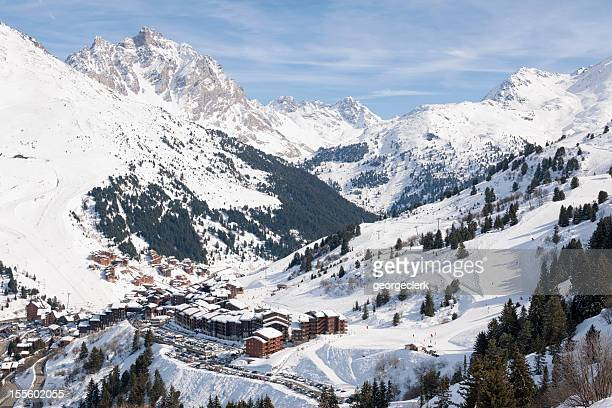alpine ski resort - trois vallees stock pictures, royalty-free photos & images