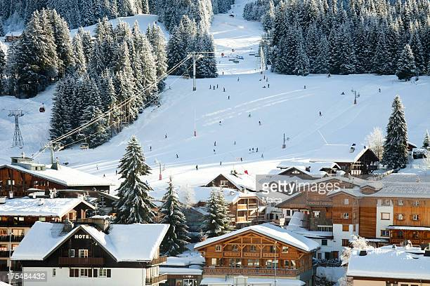alpine ski ressort - european alps stock photos and pictures