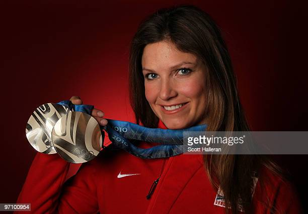 Alpine skier Julia Mancuso of the United States poses with her silver medals for the ladies' downhill and ladies' super combined in the NBC Today...