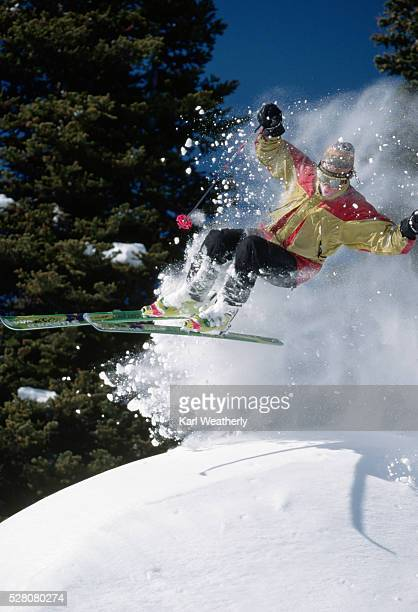 alpine skier jumping - jackson hole stock pictures, royalty-free photos & images