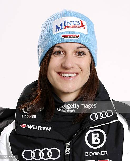 Alpine skier Kathrin Hoelzl of Germany poses during a photo call on October 26 2010 in Ingolstadt Germany