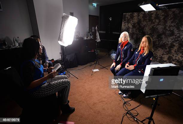 Alpine Skier Kelly Gallagher and Guide Charlotte Evans being interviewed by Channel 4 during the ParalympicsGB Team Launch for Sochi 2014 at Glasgow...