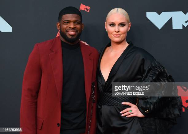 Alpine skier Lindsey Vonn and fiance Canadian ice hockey pro P. K. Subban arrive for the 2019 MTV Video Music Awards at the Prudential Center in...