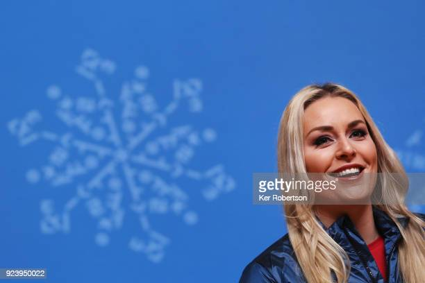 Alpine skier Lindsey Vonn of the United States attends a closing press conference for Team USA on day sixteen of the 2018 PyeongChang Winter Olympic...