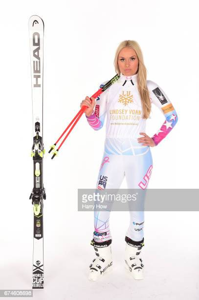 Alpine skier Lindsey Vonn poses for a portrait during the Team USA PyeongChang 2018 Winter Olympics portraits on April 28 2017 in West Hollywood...
