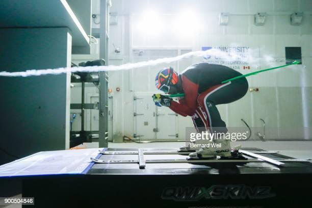 OSHAWA ON OCTOBER 1 Alpine skier Manuel OsborneParadis croutches into position wind tunnel testing at the Automotive Centre of Excellence Oshawa