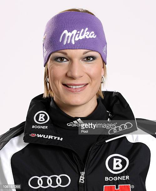Alpine skier Maria Riesch of Germany poses during a photo call on October 26 2010 in Ingolstadt Germany
