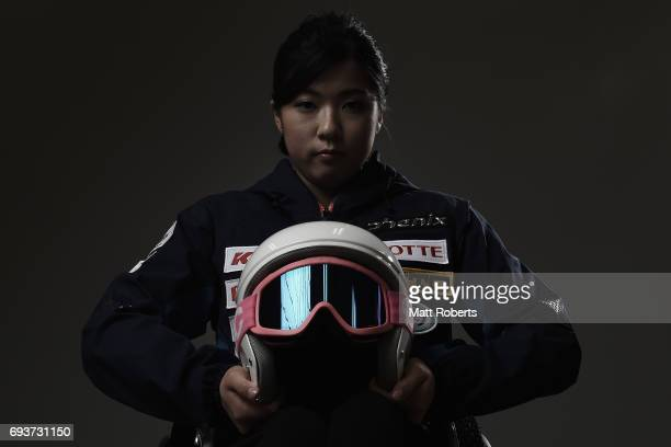 Alpine skier Momoka Muraoka of Japan poses for photograph during a portrait session on June 8 2017 in Tokyo Japan