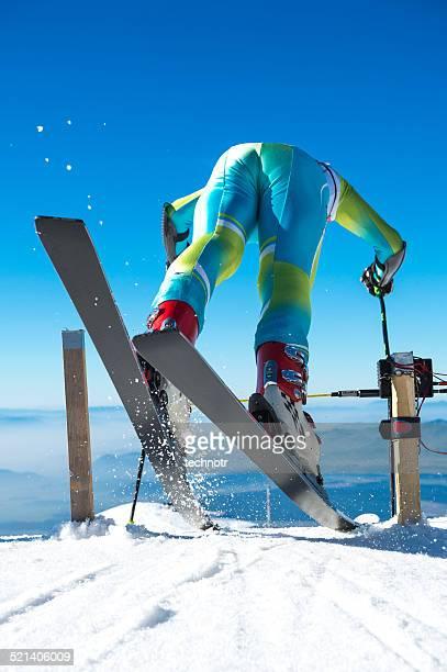 Alpine Skifahrer ab dem Giant Slalom-Rennen