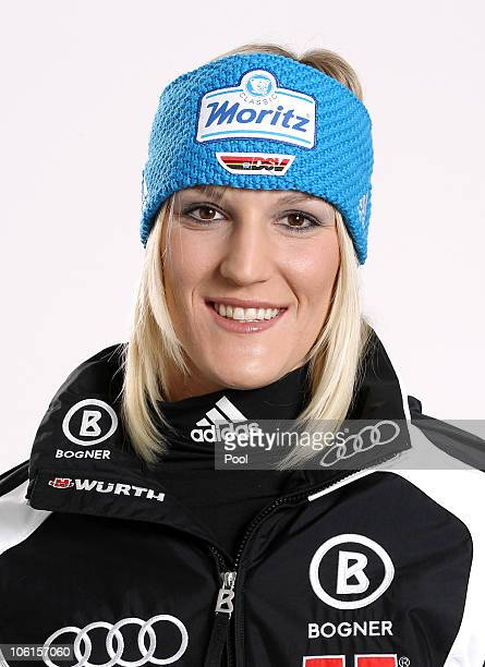 Alpine skier Susanne Riesch of Germany poses during a photo call on October 26 2010 in Ingolstadt Germany