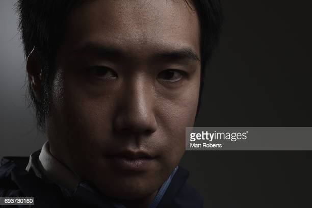 Alpine Skier Takeshi Suzuki of Japan poses for photograph during a portrait session on June 8 2017 in Tokyo Japan