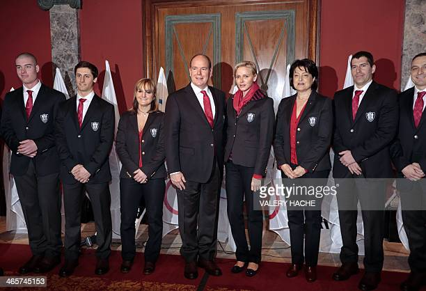 Alpine skiers Arnaud Alessandria Olivier Jenot and Alexandra Coletti Prince Albert II and Princess Charlene of Monaco General Secretary of Monaco's...