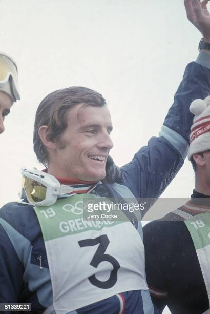 Alpine Skiing: 1968 Winter Olympics, Closeup of France Jean-Claude Killy victorious after Downhill competition, Grenoble, France 2/8/1968