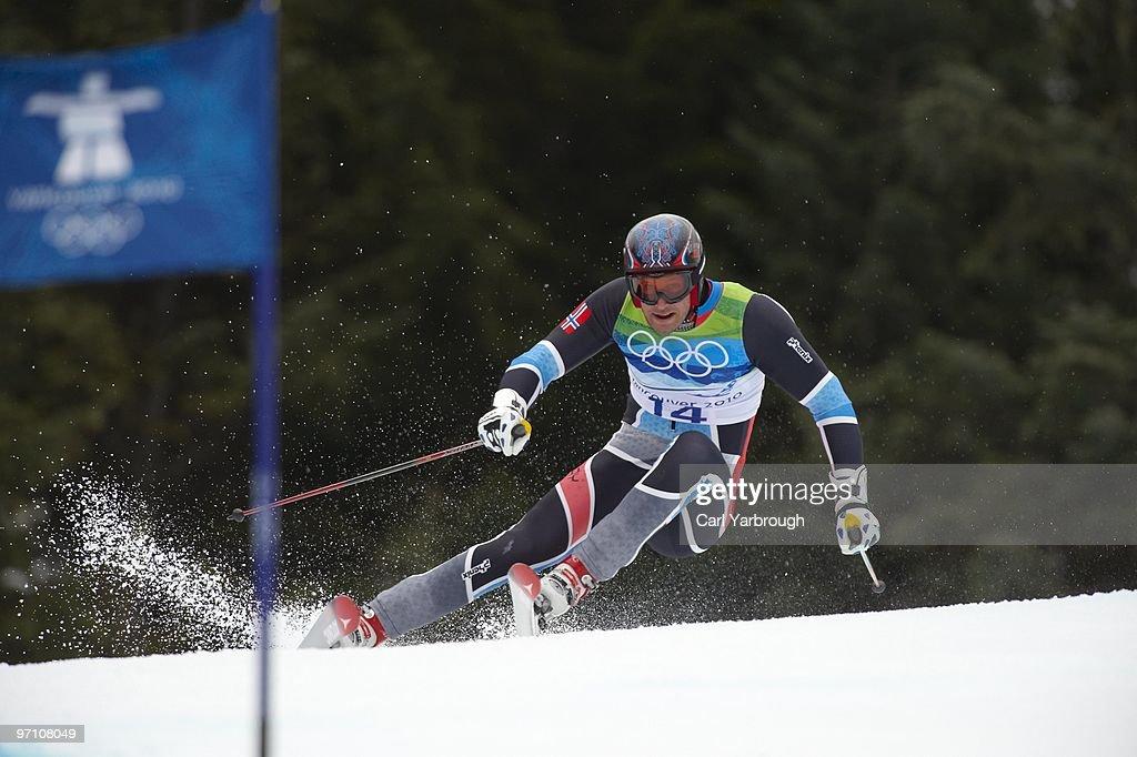 Norway Aksel Lund Svindal (14) in action during Men's Giant Slalom at Whistler Creekside. Svindal won bronze. Whistler, Canada 2/23/2010